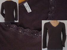 Ann Llewellyn Lingerie V - Shirt Longshirt Strass Spitzenbesatz braun M 38 1A
