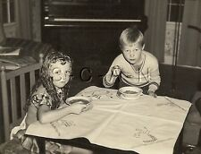 Large Vintage Real Photo- Young Girl & Boy- Cereal- Piano- Old Fashion Curls- 46