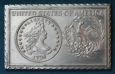 1979 Numistamp 1796 Draped Bust Dollar Small Eagle ©Mort Reed Medal Coin Plaque