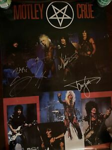 Motley Crue Shout At The Devil Poster Autographed By Neil Lee Sixx Mars