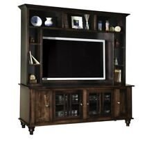 Amish Solid Wood Entertainment Center Hutch Traditional Wall Unit TV Console