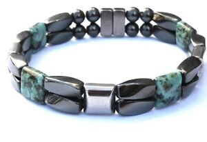 Men's Women's AFRICAN TURQUOISE Magnetic Black and Silver Bracelet Anklet 2 Row