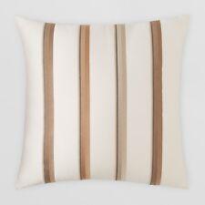 New Oake Home Cameron Pima Cotton Striped/Embroidered Euro Pillow Sham $100