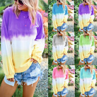 Women Rainbow Gradient Color Hoodies Shirt Round Neck Long Sleeve Casual Tops
