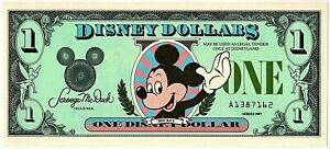 1987 A $1.00 Disney Dollar, Uncirculated A1387162 (Mickey Mouse / Castle)