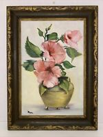 """Still Life Original Painting 12x8"""" Pink Hibiscus Floral Art Signed Framed 15x11"""""""