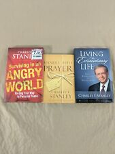 Charles F. Stanley Book Lot Of 3 Living Life Handle W/ Prayer Surviving Angry H6