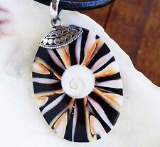 Groß Oval 5,5 x 3 cm Silber Kettenhänger Abalone Muschel Shiva Auge Eye Argonit