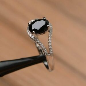 1.80Ct Oval Cut Black Diamond Solitaire Engagement Ring In 14K White Gold Finish