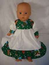 """CHRISTMAS Green cupcake white Dress. Fit  Baby Born/Annabel16/18"""" Doll"""