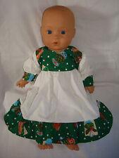 """Verde Navidad Vestido Blanco Magdalena. ajuste muñeca bebé nacido/Annabel 16/18"""""""