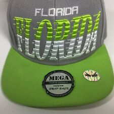 "FLORIDA Cap Hat Xtra High 5"" Profile Lime Green & Gray Flat Embroidered Snapback"