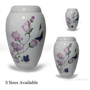 White Cremation Ash Urn, Pink Flower & Butterfly Deco, Memorial Ashes Keepsake