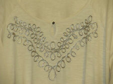 WOMENS TOP TUNIC SOUTACHE BRAIDING 4X NWT BEIGE CREAM CATHERINES 3/4 SLV LONG