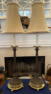 """Vintage Pair Of Black Metal Table Lamps w/Heavy Brass Bases 34"""" Top Shade 7"""" Dia"""