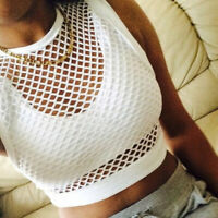 White Women Sheer Mesh Fish Net Sleeveless High Neck See Crop Top T-Shirt Blouse