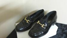 BROWNS FLAT SHOES 1 HEELS WOMEN'S MADE IN ITALY BLACK LEATHER SIZE 38 M 8 US