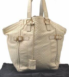 Auth YVES SAINT LAURENT Downtown Python Motif Shoulder Hand Bag PVC Ivory C5740