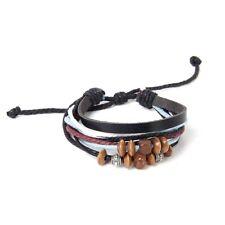 5X(Leatherette Hemp Rope Bracelet/ Tibetan Silver Beads Wooden Beads W2L4