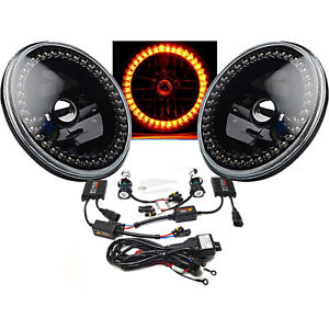 "7"" HID Amber LED Halo Ring Angel Eyes Black Headlight 6K Light Lamp Bulbs Pair"