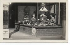 1920s Rppc Postcard of Window Display w/ Mannequin Heads & Phone Booth Sign