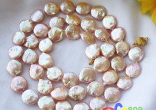Cultured Pearl Necklace 35'' Natural 12-13mm Pink Coin Freshwater