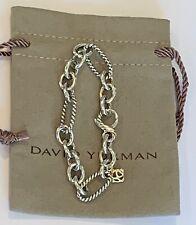 "Beautiful DAVID YURMAN Figaro Chain Link Bracelet with 18k Gold Hangtag 7.25"""