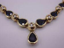 wunderschönes Saphir Brillant Collier Gold 585 punziert 3,87 ct