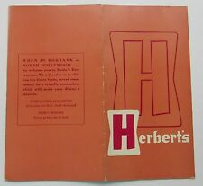 Restaurant  Menu  For Herbert's Restaurant  Laurel Californina 50's