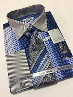 Men's DANIEL ELLISSA French Cuff Dress Shirt Blue Necktie Hanky Cufflinks Set