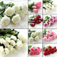 10 Heads Real Touch Latex Rose Flowers For wedding Bouquet Party Home Decoration