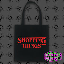 Shopping Things 100% Cotton Black Tote Bag Horror Halloween Stranger Things Goth