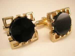 Black Stone & Gold Tone Vintage Quality HICKOK Cuff Links simple plain