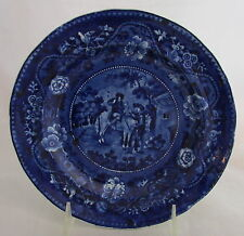 Early 19th C Clews Don Quixote Sancho Priest Barber Dark Blue Dove&Floral Plate