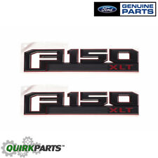 2015-2018 Ford F-150 XLT Red & Black Fender Emblem Nameplates Right Left Set OEM