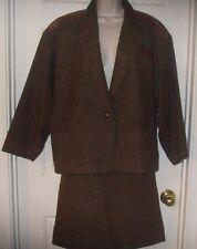 Rare Vintage 60's Paris Liliane Burty Sz 6 Brown Wool/Leather Trim Women's Suit