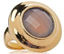 Technibond Round Gold Tone Bezel Set Faceted Chalcedony Frame Ring Grey Size 8