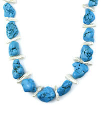 "Blue turquoise nugget and fresh water branch pearl necklace -24"" NKL340018"