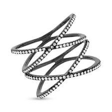 14K Noir Rhodium or Diamant X Crisscross Bague Double Xx Cocktail Femmes