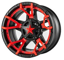 17 inch Black Red XD Series Rockstar 3 Wheels Rims Jeep Wrangler JK 5x5 Set of 4