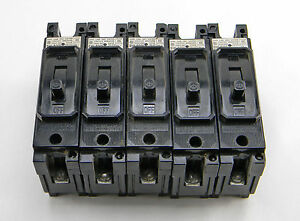 LOT OF 5 USED ITE EH1-B015 1 POLE 15A CIRCUIT BREAKERS 277VAC