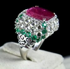 IMPORTANT NATURAL RUBY CUSHION ROSE CUT DIAMOND EMERALD 18K GOLD COCKTAIL RING