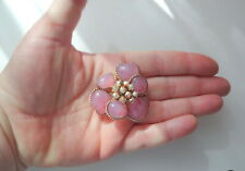 Medieval Flower Pearls Pin Brooch Antique Victorian Edwardian Pink Swirl Glass