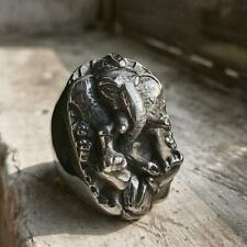 Wisdom Luck Elephant God Ganesha Ring Mens Stainless Steel Amulet Ring Jewelry