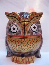 VINTAGE HAND CARVED HAND PAINTED WOODEN OWL FIGURINE HOME DÉCOR GIFT