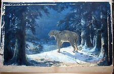 ANTIQUE 1911 AMERICAN REALIST MOUNTAIN LION CUGAR LARKING AT NIGHT IN LANDSCAPE