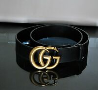 Gucci Marmont Black leather belt GG Gold-tone Buckle