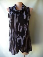 Lilia size 16 black grey top crinkle sleeveless