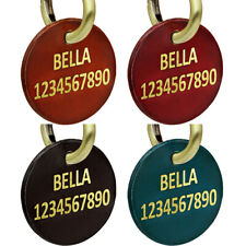 Personalized Leather Pet Dog ID Tags Round Shape Engraved Nameplate Customized
