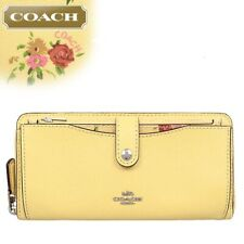 New Authentic Coach F29927 Multifunction Wallet Daisy Bundle Vanilla Yellow